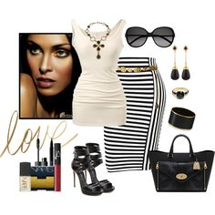 A fashion look from April 2014 featuring black and white stripe skirt, leather platform sandals y black envelope clutch. Browse and shop related looks.