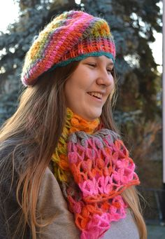 Set beaniescarf lovely and  warmmulticolorautumn by DosiakStyle