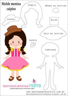 Montando a minha festa Imagens: Menina caipira cute - Festa junina com molde Quiet Book Patterns, Felt Patterns, Craft Patterns, Felt Diy, Felt Crafts, Felt Dolls, Paper Dolls, Doll Quilt, Book Projects