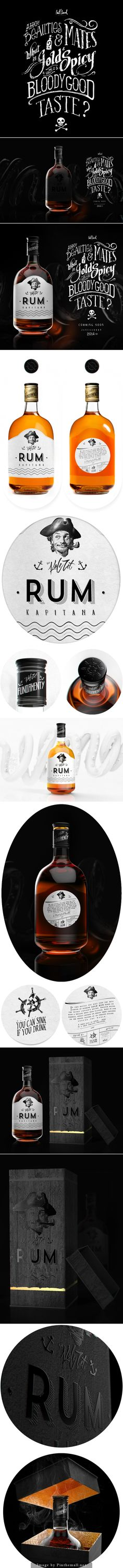 Mateusz Chmura has created this brand and packaging design for RUM Kapitana. Mateusz is a freelance graphic and product designer with an interwst in typography, photography and Dimensions. Beverage Packaging, Bottle Packaging, Brand Packaging, Packaging Design, Branding Design, Rum Bottle, Liquor Bottles, Graphic Design Typography, Lettering Design