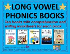 10 original stories that are great for decoding long vowel spellings! Give students a feeling of success when they are able to read these books by themselves! A comprehension page and writing page included for each book! Reluctant Readers, Struggling Readers, Phonics Books, Reading Tutoring, Writing Worksheets, Writing Prompts, Long Vowels, Phonemic Awareness, Reading Resources