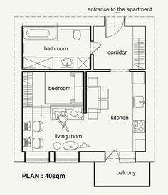 Living Small With Style: Beautiful Small Apartment Plan Under 50 sqm, Ukraine | http://www.designrulz.com/design/2015/04/living-small-with-style-beautiful-small-apartment-plan-under-50-sqm/