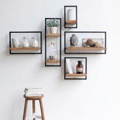 Vintage Furniture Diy Bedroom Home Decor Ideas For 2019 Cheap Furniture, Vintage Furniture, Furniture Decor, Unique Wall Shelves, Rustic Shelves, Geometric Shelves, Geometric Decor, Rustic Stools, Home Trends