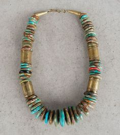 Vintage brass & turquoise slab necklace by Tony Aguilar, Santo Domingo Pueblo - Quintana Galleries: Jewelry Southwest