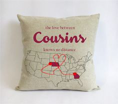 long distance cousins pillowcase-burlap gift for big cousins-birthday present for little cousins-the love between cousins knows no distance
