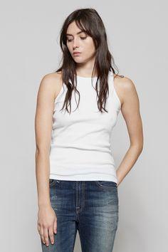 Wood Wood Kamali Tank Top - Bright White | R13 Slouch Skinny Jean | MYCHAMELEON.COM.AU