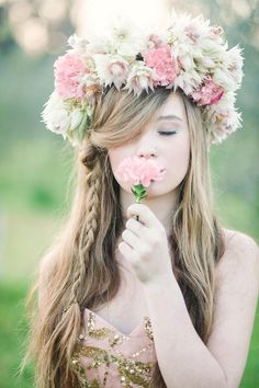 Sexy tousled long hair with braid and pink, white flower crown of pink lisanthius, carnations and cream blushing brides //   Long Hair Styles for Spring Weddings // Debbie Lourens Photography // Paramithi flowers // Fringe Hair and Make-up
