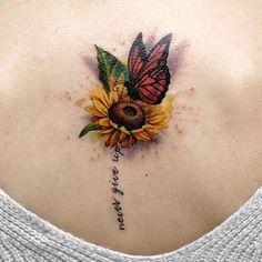 Small Sunflower with Butterfly Tattoo - Best Sunflower Tattoos: Cute Sunflower Tattoo Designs and Ideas For Women Sunflower Mandala Tattoo, Sunflower Tattoo Shoulder, Sunflower Tattoo Small, Sunflower Tattoos, Sunflower Tattoo Design, Butterfly Tattoos, Tattoos For Girls, Best Tattoos For Women, Line Tattoos