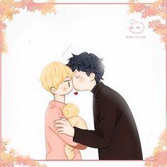 Dojin kiss Hyesung and their son Byul. Manga Anime, Anime Gifs, App Anime, Manhwa Manga, Illusion Gif, Bl Comics, Kirito Asuna, Vkook Fanart, Foto Jimin