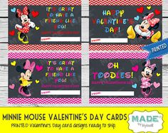 Printed MINNIE MOUSE VALENTINE'S Day Cards, Kids Valentines Day Cards, Valentines Cards, Kids Valentines, Printed Valentines, Holiday, Party