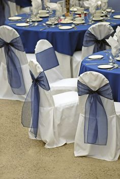Your wedding anniversary symbol is sapphire and a great theme for your party. Lots of ideas and supplies Sapphire Anniversary, 65th Anniversary, Anniversary Parties, Anniversary Ideas, Blue Wedding Decorations, Anniversary Party Decorations, Wedding Linens, Wedding Chairs, Sapphire Blue Weddings
