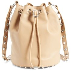 Women's Alexander Wang 'Alpha' Leather Bucket Bag ($850) ❤ liked on Polyvore featuring bags, handbags, shoulder bags, light nude, nude handbags, studded leather handbag, leather handbags, beige shoulder bag and studded handbags