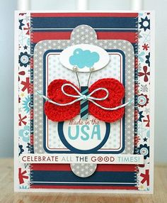 Featuring Bella Blvd All American Collection and Crochet Hearts Card. USA Card by DT Member Shellye McDaniel