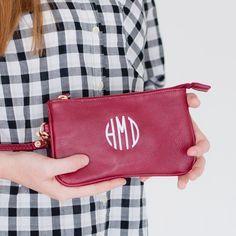 Monogram Wristlet in Garnet Leather Like with by HoopandStitch