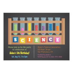 441 Best Science Birthday Party Invitations images in 2019
