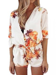 My cousin just gave me this EXACT outfit and I LOVE it. It was crazy when it popped up here the day after I got it :) Casual Women Floral Printed Half Sleeve V Neck Button Jumpsuits - Newchic Plus Size Bottoms