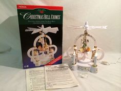 Vintage Noma Christmas Brass Bell Chimes W/Rotating Angels Musical Decor Repair