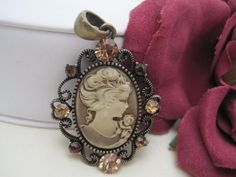 Pink Cameo Vintage Pendant Necklace by VintagObsessions on Etsy