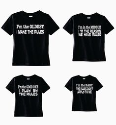 f3e8f3dd5 Funny set 4 brother shirts, Oldest Brother, Middle Brother, Big Brother,  Baby