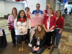 """Some of the USO Volunteers who helped with the """"Love Notes"""" - Thank you notes people wrote to the soldiers.  The notes were later hung up in the USO Center.  Over 350 notes were written"""