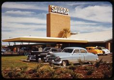 Sahara, Las Vegas, 1952. '41 and '51 Cadillacs. Commercial slide, unknown photographer.