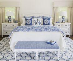 Blue and white bedroom. Blue and white bedroom decor. Blue and white bedroom… White Bedroom Design, White Interior Design, Blue Bedroom, Bedroom Decor, Bedroom Ideas, Master Bedroom, Bedroom Lampshade, Bedroom Furniture, Bedroom Designs