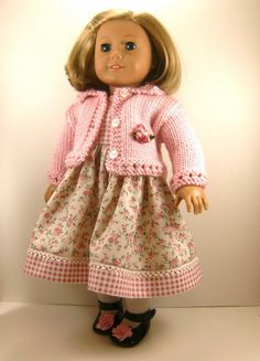18 Inch Doll Clothes American Girl Pink Hand Knitted Sweater and Pink Rose Floral and Checkered Sleeveless Dress. $30.00, via Etsy.