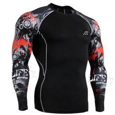 (Must See These!) BJJ Rashguard Shirt, Crossfit, Brazilian Jiu Jitsu, Weight Training - Long Sleeve Compression Shirt Men's