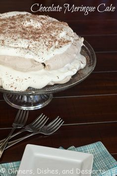 Chocolate Meringue Cake- replace sugar with honey or maple syrup