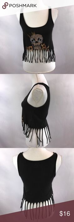 Kirra Black Skull Crop Top with Fringe Bottom Some fading from washing, bust measures 15 inches laying flat and falls 15 inches from the shoulder Kirra Tops Crop Tops