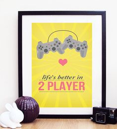 "Playstation / Games Console ""life's better in 2 player"" Poster Print A3 / 11x14. $19.00, via Etsy."