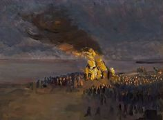 Helga Ancher (-1883-1964):  Sankt Hans Bonfire on Skagen Beach