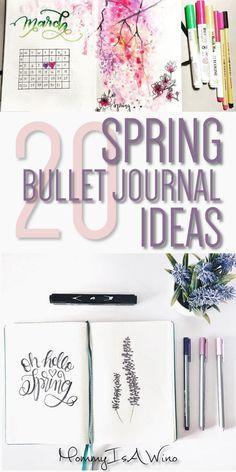 20 Spring Bullet Journal Ideas - Bullet Journal Spreads for Spring, Bullet Journal Layouts to stay organized this spring