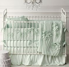 Washed Appliquéd Fleur & Vintage-Washed Italian Sateen Nursery Bedding Collection