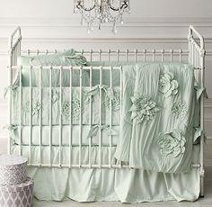 Washed Appliquéd Fleur & Vintage-Washed Italian Sateen Nursery Bedding Collection