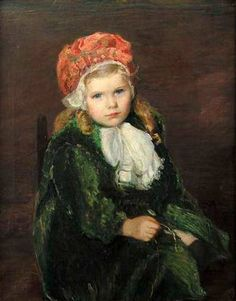 Pink Beret - Girl In A Red Bonnet by Lilla Cabot Perry (1848 – 1933, American)