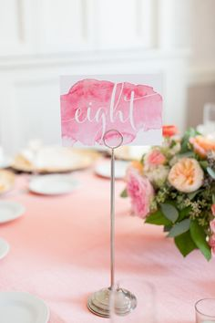 Watercolor table number idea - pink watercolor cards with modern calligraphy {Maison Meredith Photography}