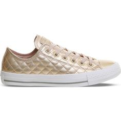 Converse All Star quilted metallic leather trainers ($66) ❤ liked on Polyvore featuring shoes, sneakers, low profile sneakers, star sneakers, converse shoes, rubber sole shoes and converse sneakers