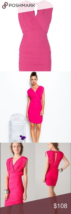 Alice + Olivia Ruched - keyhole Dress Poly spandex. Blend - NWT - seam has opened on interior of dress minor fix - see last picture dress Retails for $368 paid $296 yours for $108 Alice + Olivia Dresses