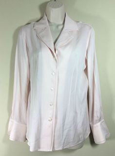 BROOKS BROTHERS Womens Pink Button Front Stretch Silk Blouse French Cuff Sz 6 #BrooksBrothers #Blouse