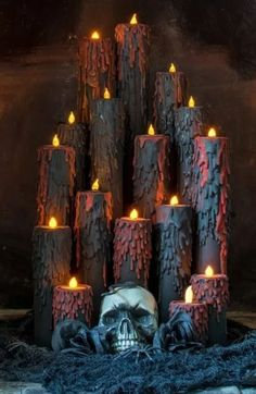 10 Spooky Candles To Spark Up The Halloween Mood - HomelySmart Homemade Halloween Decorations, Halloween Prop, Outdoor Halloween, Halloween Party Decor, Holidays Halloween, Halloween Candles, Hallowen Party, Halloween Witches, Halloween Stuff