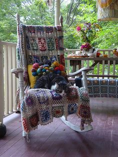 Here's your porch and afghan and rocker --oops! - no kitty at your house!