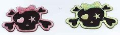 Iron on Embroidered Applique Patch Jolly Roger Pink Green Baby Girl Skull SMALL