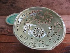 Green Leaf Pottery Colander / Berry Bowl / North by TagawaPottery, $34.00