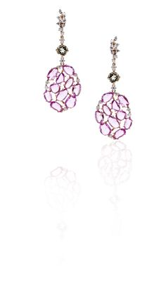 18 kt Rose Gold earrings with Diamonds, prasiolite and Rose Sapphire