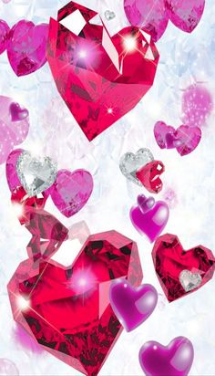 Heart Background, People Fall In Love, Heart Wallpaper, Wallpaper Pictures, Bold Colors, Abstract, Artwork, Hearts, Bling