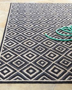 Diamonds Galore Indoor/Outdoor Rug, Charcoal, 8x11, Polypropylene/Acrylic blend | Horchow