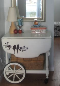 Cute idea for the tea cart and use at nightstand.