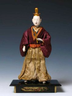 "Early Japanese Takeda Ningyo, depicting an actor on stage in the role of an emperor 12-1/4"" High overall  Edo Period, Circa 1780"