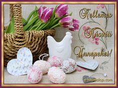 Képeslap húsvétra, csipke tojásokkal, kakassal és tulipánokkal. Happy Easter, Place Cards, Place Card Holders, Table Decorations, Ornaments, Buddha, Google, Tulips, Happy Easter Day